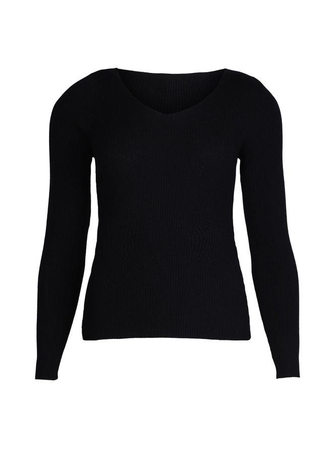 Basic rib trui Nikkie zwart