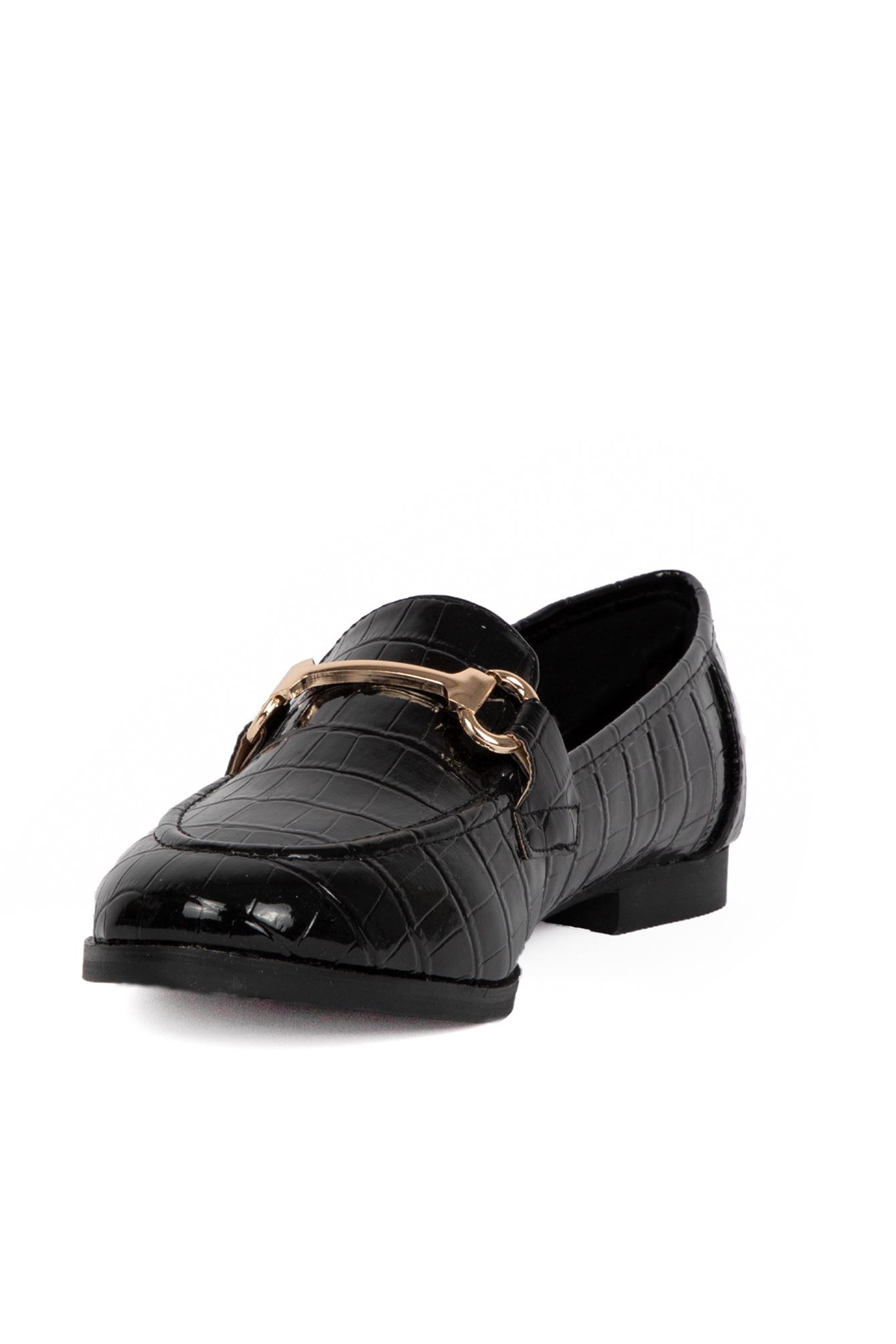Black loafer croco
