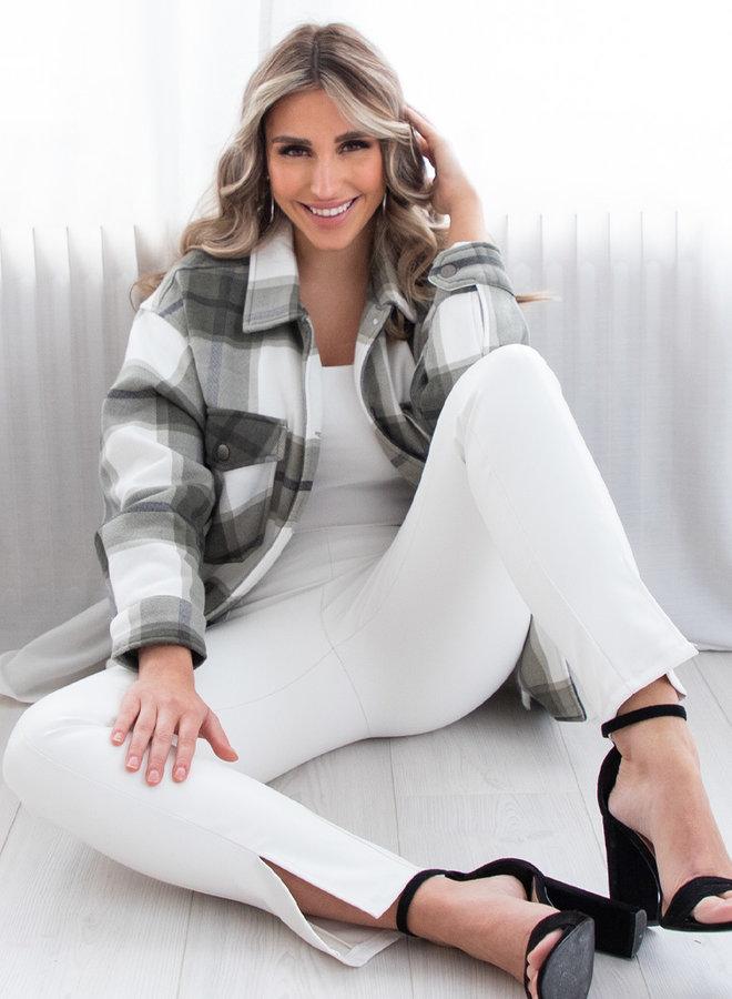 Tartan blouse Clair kaki