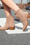 Boots suede look beige