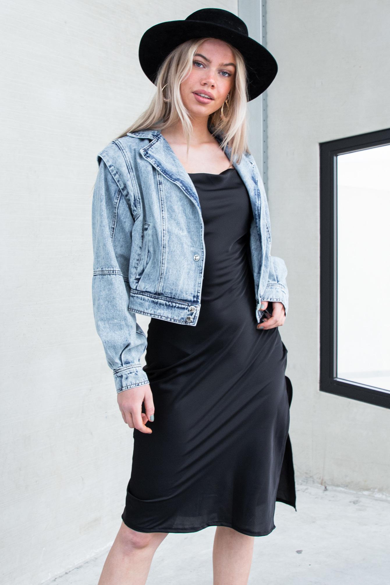 Satin dress black
