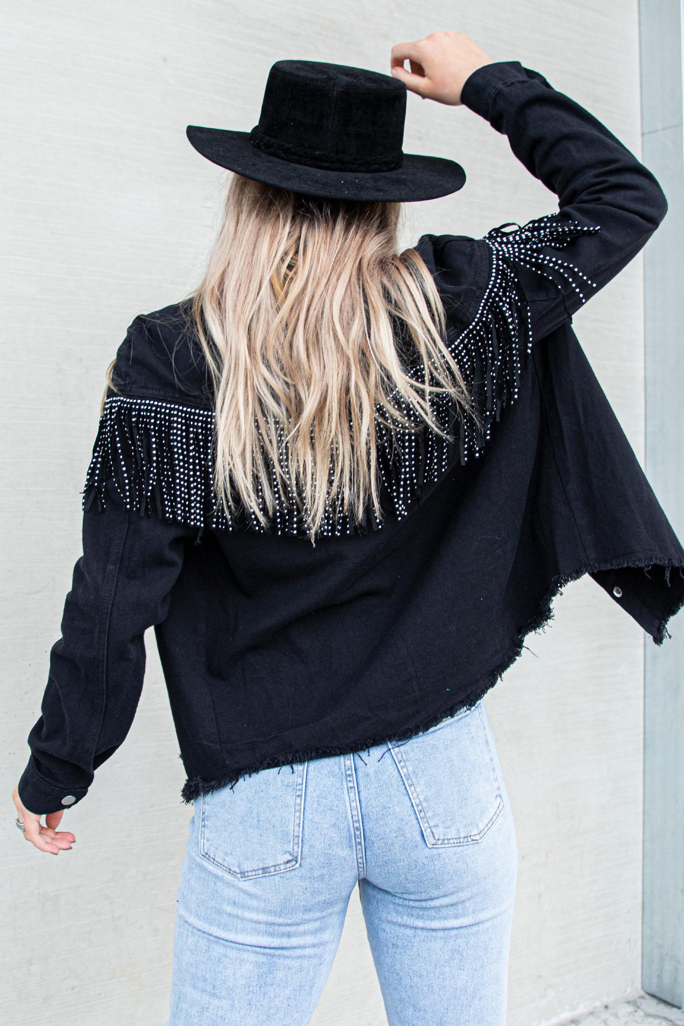 Fringe jacket zwart