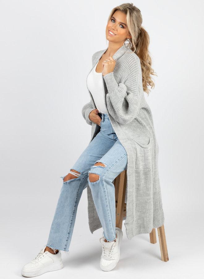 Long knit Jennie grijs