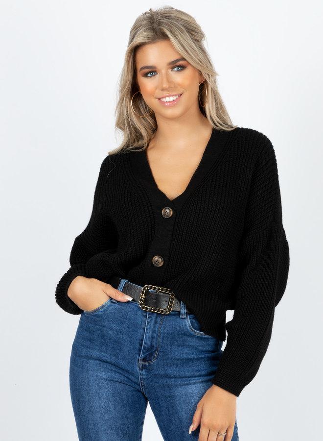 Button knit Kiki zwart