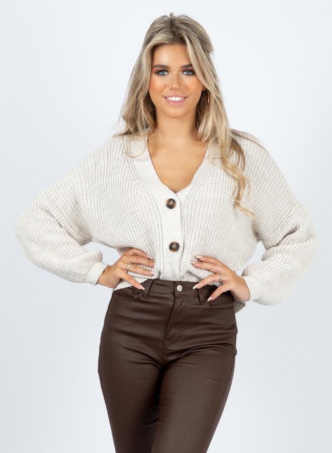 Button knit Kiki beige