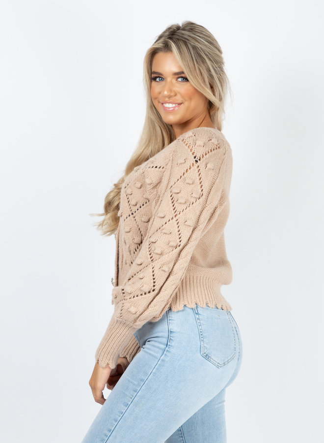 Button knit Kiandra taupe
