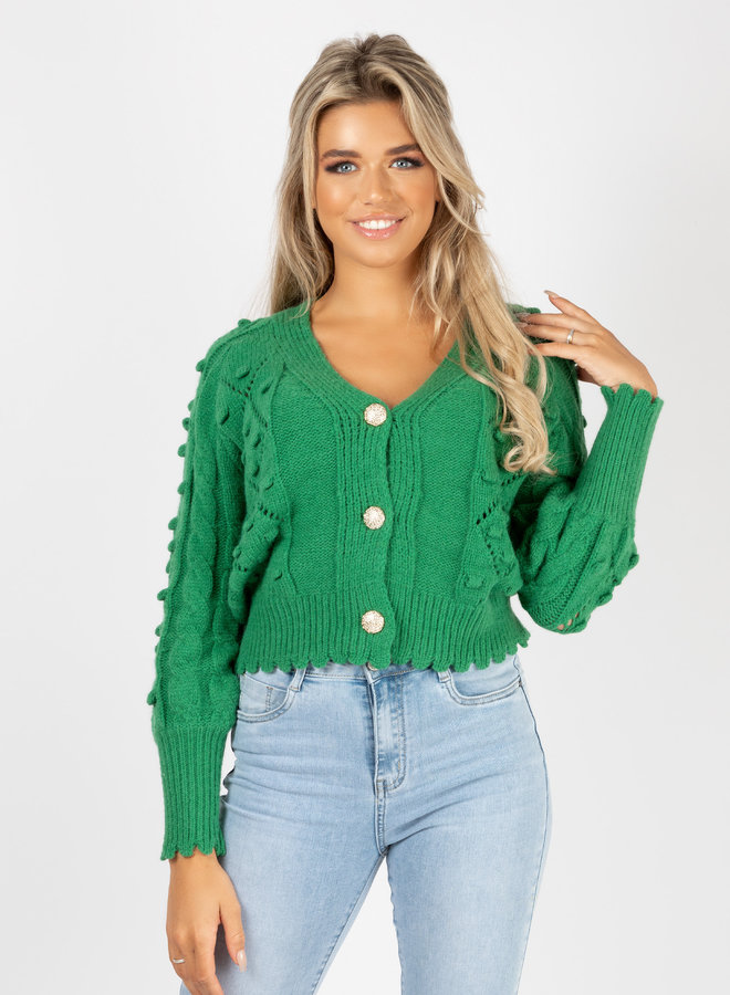 Button knit Kiandra groen
