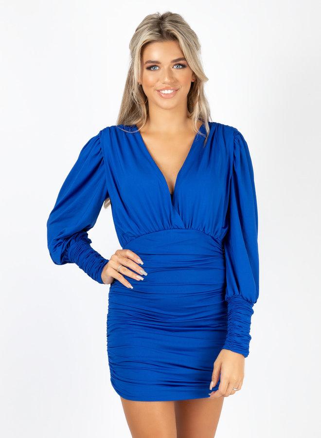 Satin dress Vana blauw