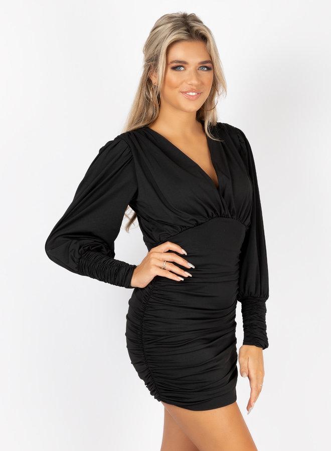 Satin dress Vana zwart