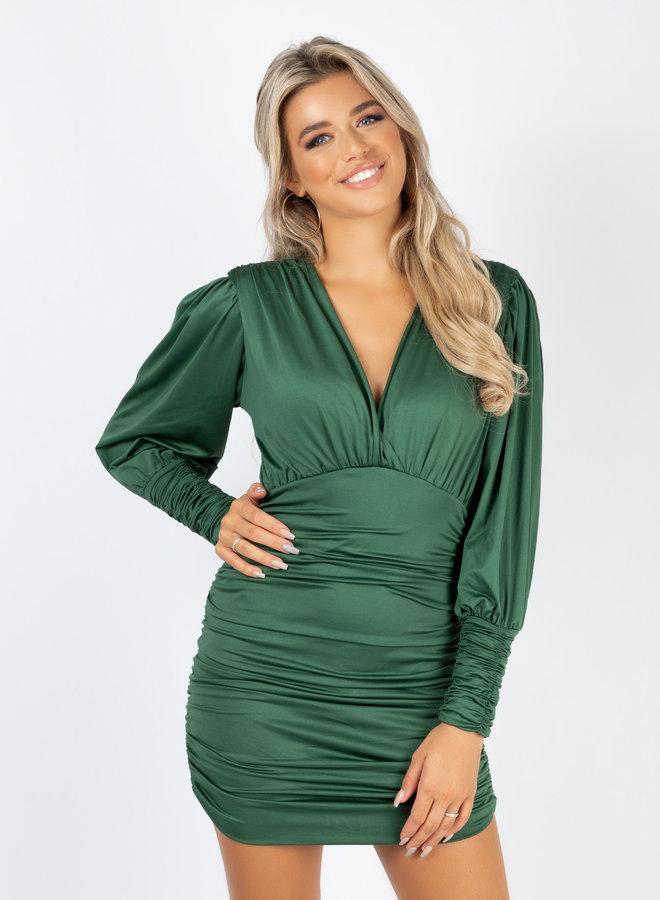 Satin dress Vana groen