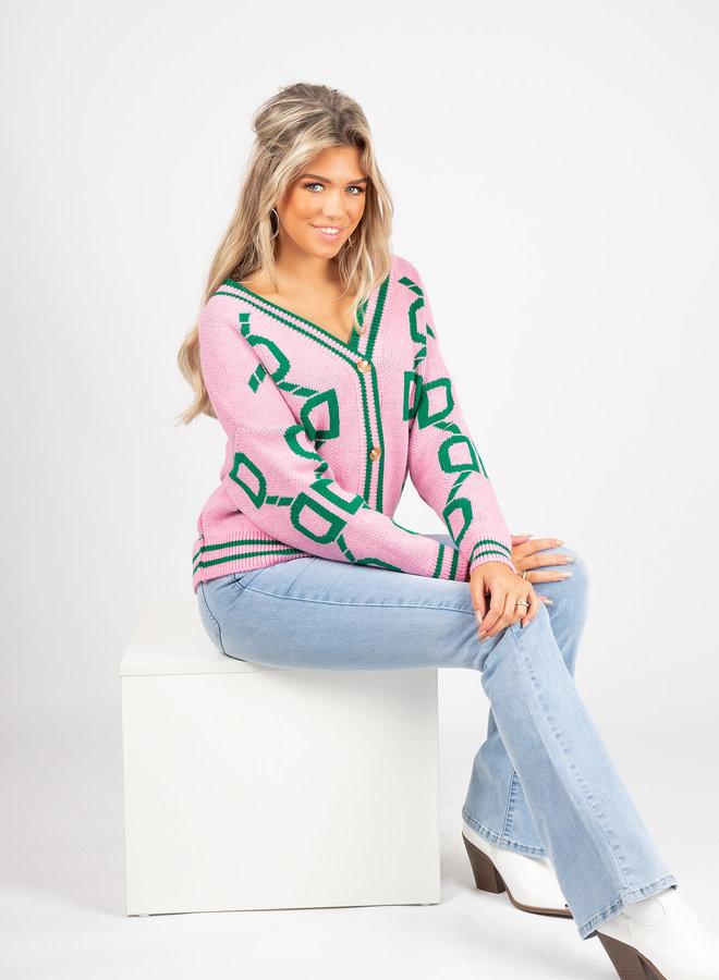 Button knit Myrthe roze