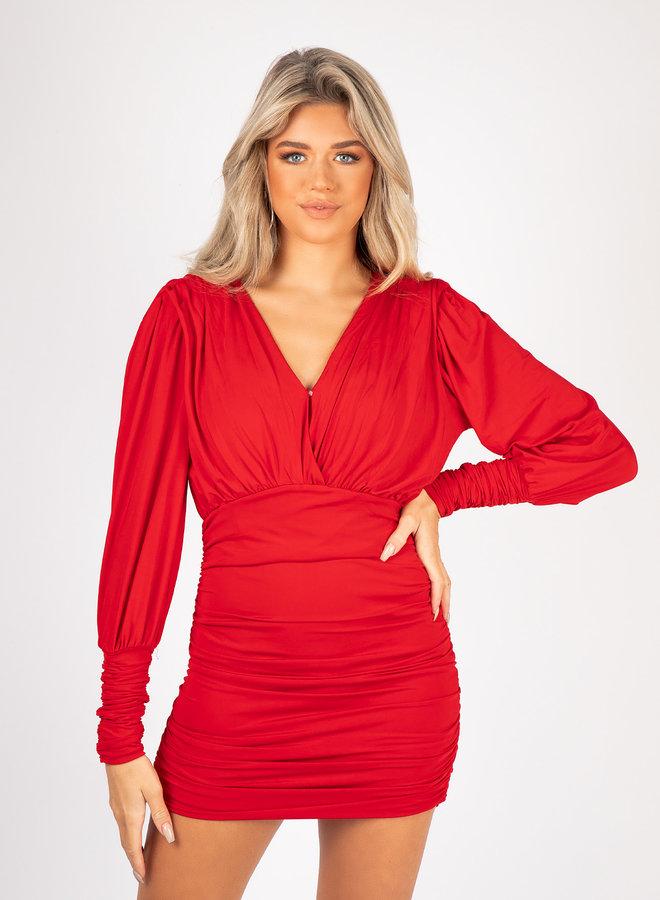 Satin dress Vana rood