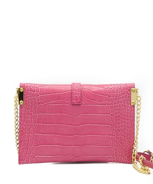 Sage - Croco - Crossbody bags - Pink - Fuchsia