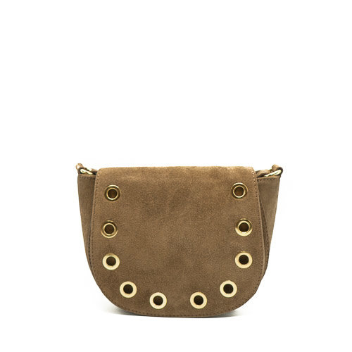Christine - Suede - Crossbody bags - Taupe - 24 - Gold