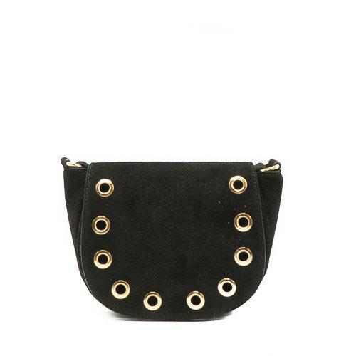 Christine - Suede - Crossbody bags - Black - 23 - Gold