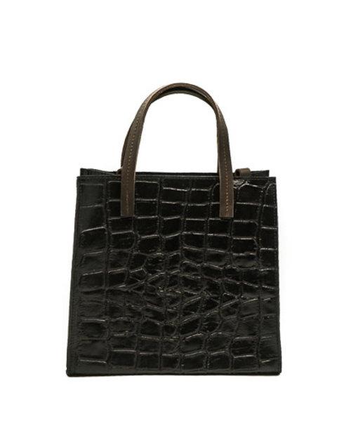 Natalie - Croco - Handtassen - Zwart - 23 - Bronskleurig