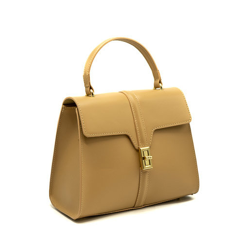 Clary - Calf leather - Hand bags - Beige - - Gold