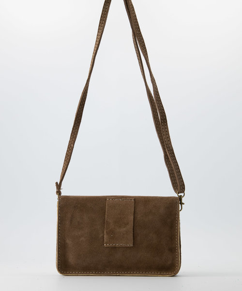Laura - Suede - Crossbody bags - Taupe - 24 - Bronze