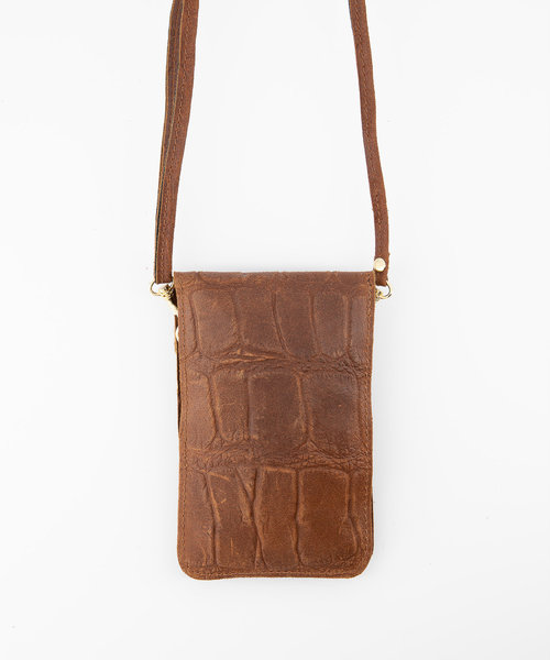 Pona - Croco - Crossbody bags - Brown - 37 - Gold