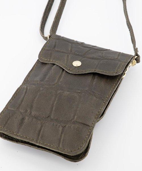 Pona - Croco - Crossbody bags - Green - 49 - Gold
