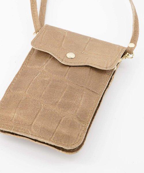 Pona - Croco - Crossbody bags - Taupe - 4 - Gold