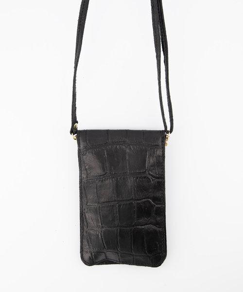 Nieuw Pona - Croco - Crossbody bags - Black - 23 - Gold