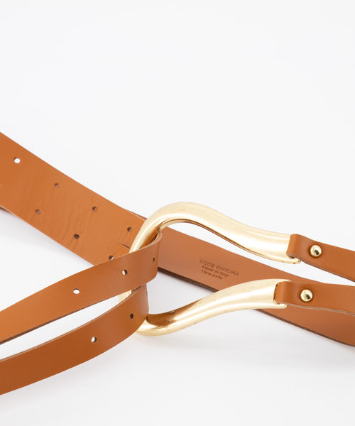 Joyce - Sauvage - Belts with buckles - Brown - Cognac - Gold