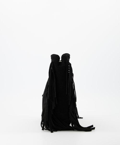 Sylvie - Suede - Crossbodytassen - Zwart - 23 - Zilverkleurig