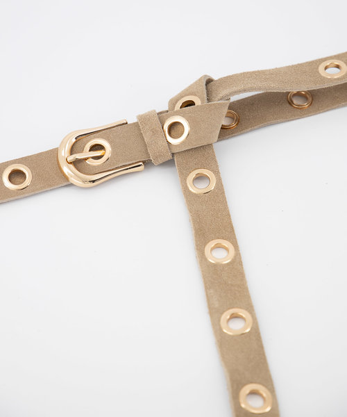 Avery - Suede - Belts with buckles - Beige - 4 - Gold