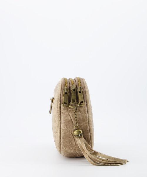 Nova - Croco - Crossbody bags - Sand - 4 - Gold