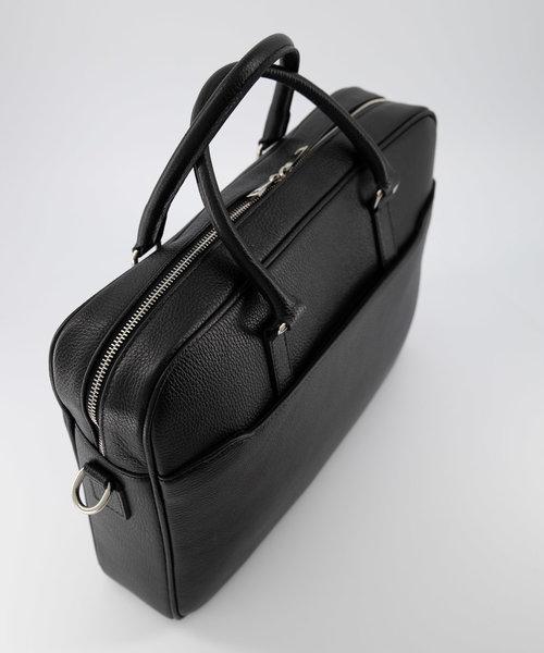 Hayden - Classic Grain - Laptoptassen - Zwart - D28 - Zilverkleurig