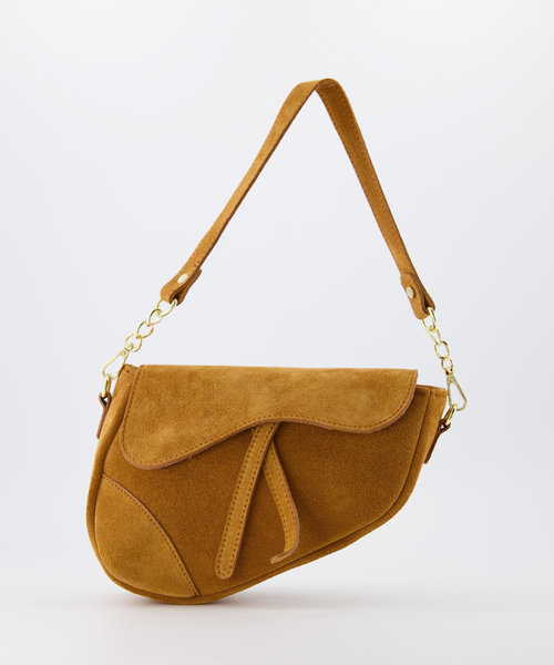 Gigi - Suede - Crossbody bags - Brown - 6 - Gold