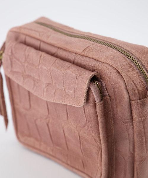 Miles - Croco - Crossbody bags - Pink - 50 - Gold