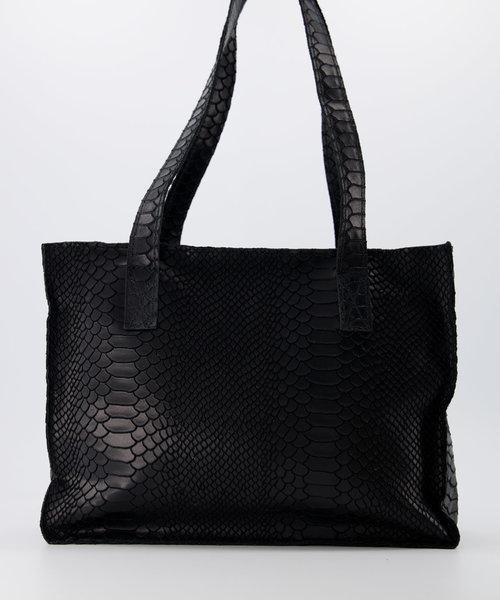 Patty - Suede - Handtassen - Zwart - 23 - Bronskleurig