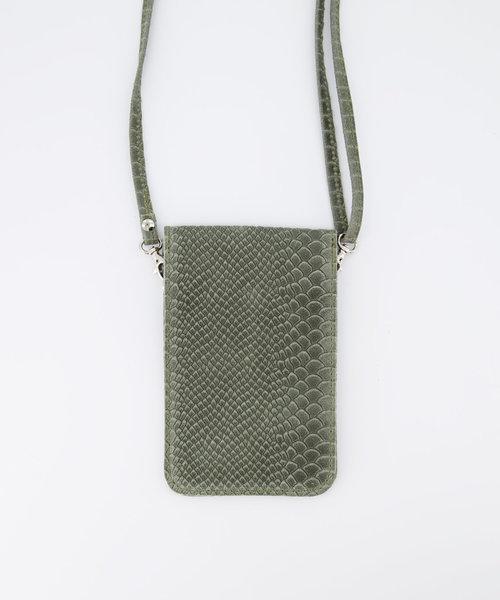 Pona - Slangen - Crossbodytassen - Groen - 6008 - Zilverkleurig