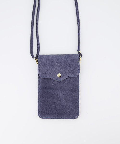 Pona - Suede - Crossbody bags - Blue - 31 - Gold