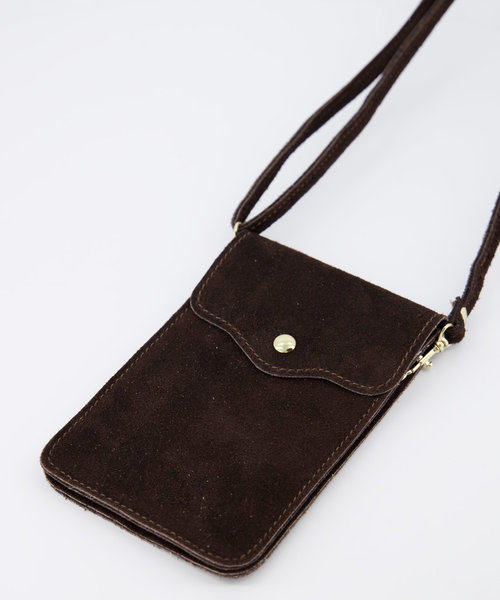 Pona - Suede - Crossbody bags - Brown - 7 - Gold