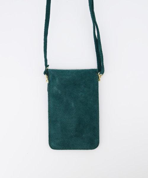 Pona - Suede - Crossbody bags - Petrol - 26 - Gold