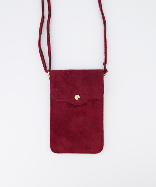 Pona - Suede - Crossbody bags - Red - 40 - Gold