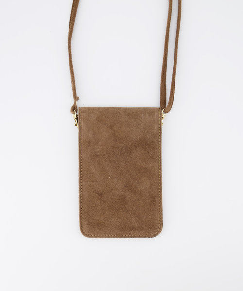 Pona - Suede - Crossbody bags - Taupe - 24 - Gold