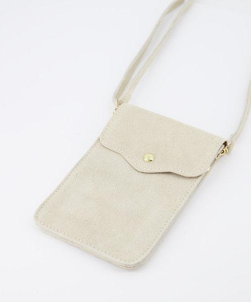 Nieuw Pona - Suede - Crossbody bags - White - 2 - Gold