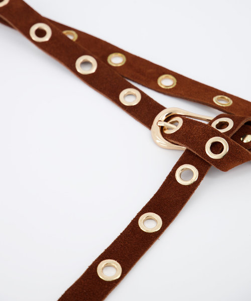 Avery - Suede - Belts with buckles - Brown - 37 - Gold