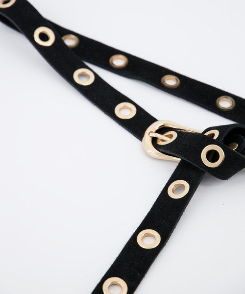 Avery - Suede - Belts with buckles - Black - 23 - Gold