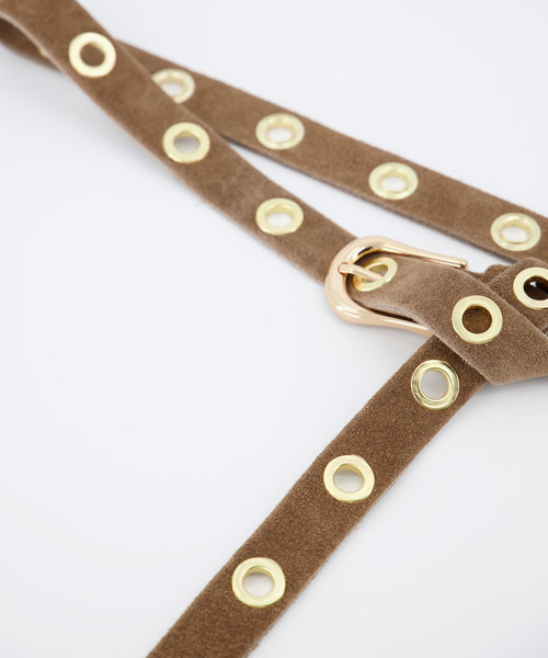Avery - Suede - Belts with buckles - Taupe - 24 - Gold