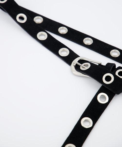 Avery - Suede - Riemen met gesp - Zwart - 23 - Zilverkleurig