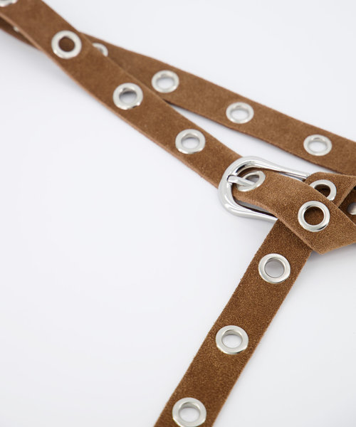 Avery - Suede - Belts with buckles - Taupe - 24 - Silver
