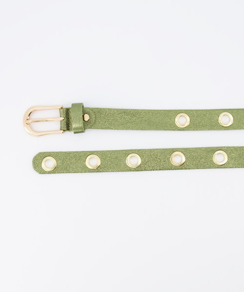 Avery - Metallic - Belts with buckles - Green - Army - Gold