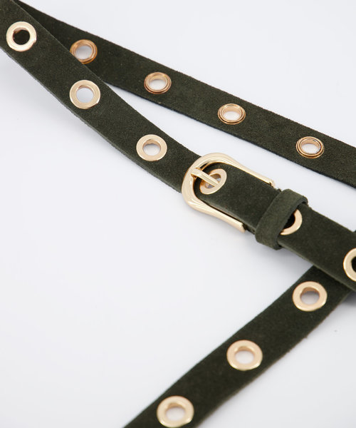 Avery - Suede - Belts with buckles - Green - 49 - Gold
