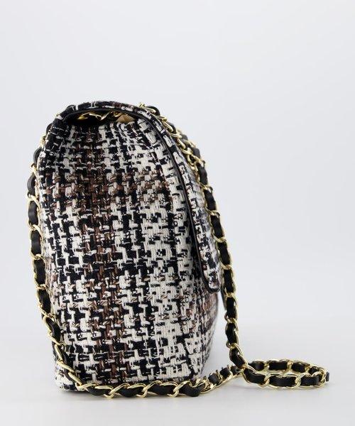 Audrey Groot Tweed - Tweed - Crossbodytassen - Bruin/Zwart -  - Goudkleurig