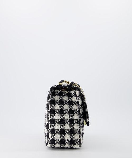 Audrey Medium Tweed - Tweed - Crossbodytassen - Zwart - Houndstooth - Goudkleurig